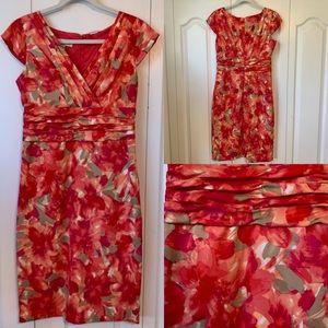 KASPER Red/Pink Floral Dress - Size 6